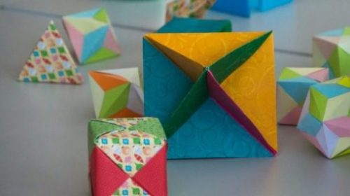 Set Of Mixed Geometrical Shaped Origami Figures.