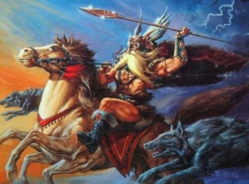 Featured Topic Fantasy Theme Image Of Odin On The Horse Sleipnir Holding Up His Spear Flanked By His Dogs. Lightning Crackles In The Background.