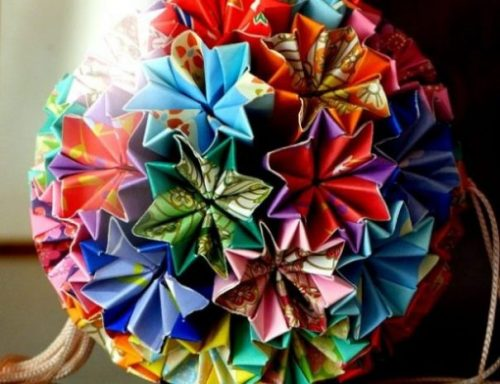 Multi Colored Rounded Ball Of Origami Figures.