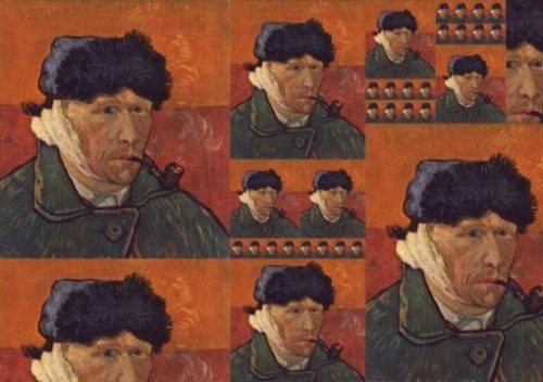 Montage Of The Van Gogh Self Portrait Highlighting The Wrong Ear Bandaged. Van Gogh Is Capped, Smoking A Pipe.
