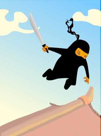 Fun Ninja Jumps Off A High Temple Sword In Hand.