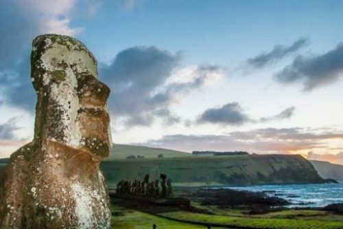 Featured Topic Image Easter Island Shoreline And Giant Stone Statue.