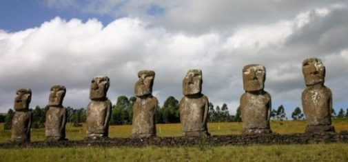 Featured Topic Image Close Up Of Seven Easter Island Stone Giants In A Row.