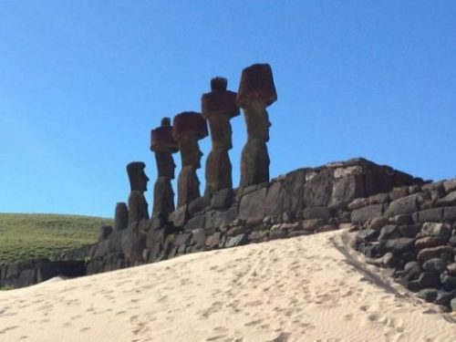 Featured Topic Image Row Of Easter Island Platformed Stone Giants With Stony Hats.