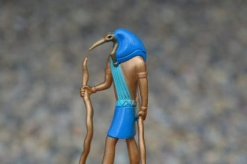 Modern Toy Doll Image Of Thoth In Ibis Form Of Ancient Egypt.