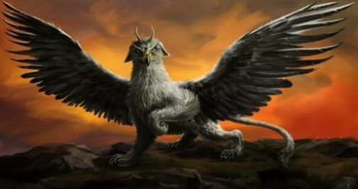 Fantasy Image Of A Griffin Wings Spread In A Sunset/rise Scene.