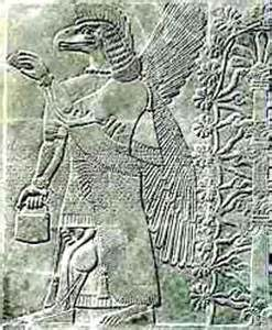 Image Showing Ancient Winged God Holding Egg And Bag.