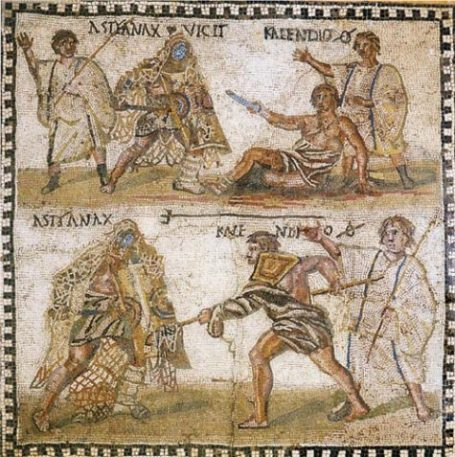Roman Art Of Gladiators Using Nets.