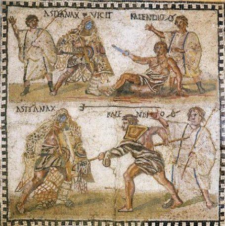 Roman Art Of Gladiators Using Nets.