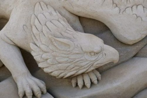 Close Up Image Of A Griffin Sand Sculpture.