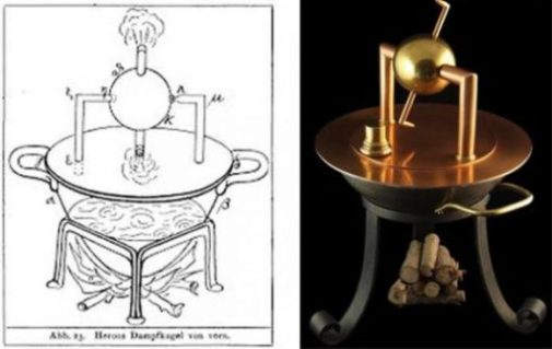 Split Image Showing A Drawing And Model Of One Of Hero Of Alexandria's Inventions.