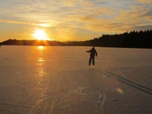 Image Of A Lone Iceskater Alongside A Forested Sunset Scene.