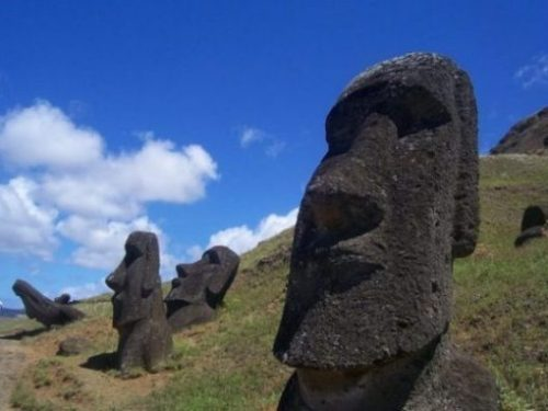 Image Of Several Easter Island Stone Giant Statues.