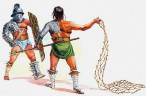 Featured Topic Image Of A Pair Of Gladiators One With A Trident + Net The Other With A Sword + Shield.