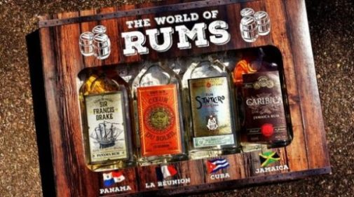Image Displaying Boxed Set Of Four Rums From Around The World.