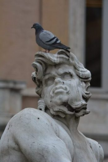 Image Of A Bird Atop An Upward Looking Statue.