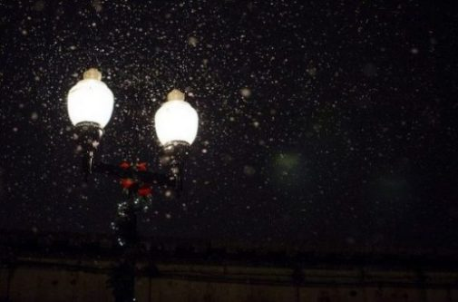 Night Image Of Lightly Snow Covered Lit Street Lamps.