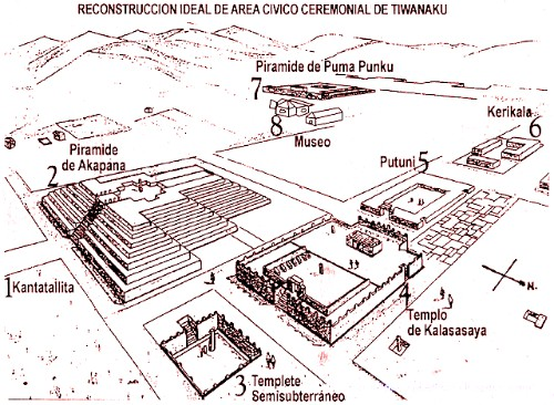 Image Of Sketched Out Ancient Site Of Tiahuanaco.
