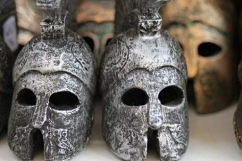 Image Of Ancient Greek Helmets.