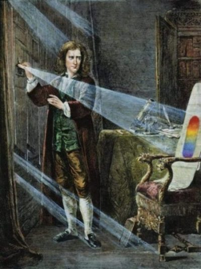 Image Of Isaac Newton Prism Refracting White Light Into The Rainbow Display.