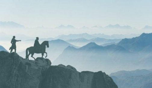 Featured Image Of Two Knights Overlooking A Mountain Morning Landscape.