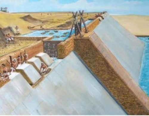 Image Showing A Pyramid Built Using Water Canals For Transport Of Large Stones.