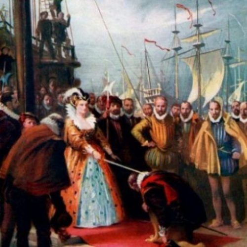 Image Of A Painting Of The Queen Knighting Francis Drake.