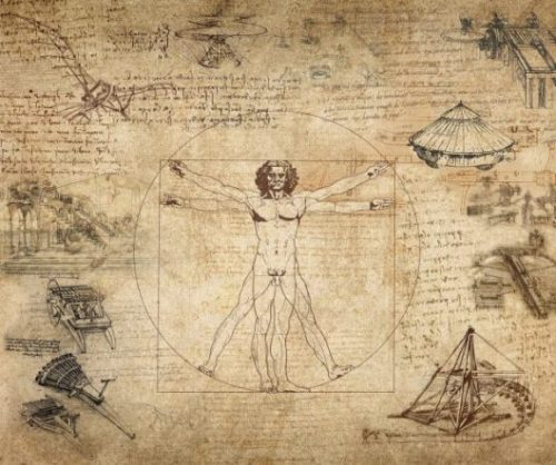 Images From The Works Of Leonardo da Vinci Featuring The Archetypical Man Figure.