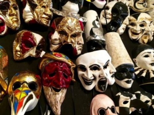 Image Of Many Romanesque Carnival Masks.