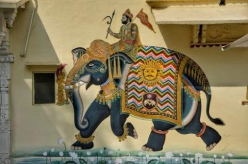 Image Of Art Grafitti Styled Yore War Elephant And Rider.