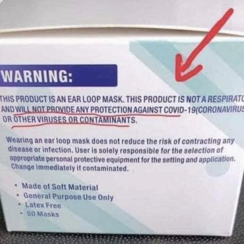 Image Of A Mask Warning Notice Useless Against Viruses.