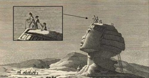 Image Showing An Old Drawing Of The Sphinx With A Closeup Inset Showing A Entrance/Exit Way On Top Of The Head.