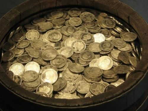 Image Of A Barrel Pot Full Of Gold Coins.