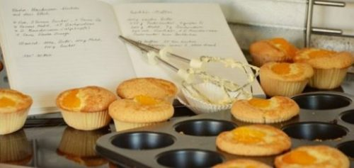 Image Displaying Muffin Recipe And Ingredients.