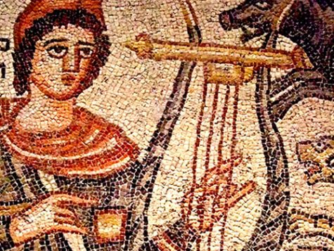 Image Focusing On Ancient Greek Mosaic Of Orpheus And Lyre.