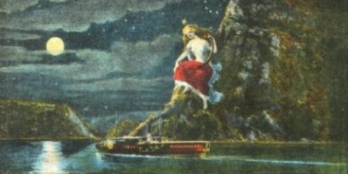 Image Of A Painting Depicting The Legend Of The Siren Lorelei.