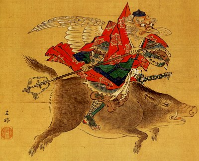 Image Of A Tengu On Horseback Art Print.