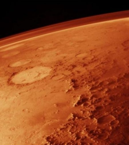 Image Showing Closeup Of A Partial Area Of The Planet Mars Atmosphere And Surface.