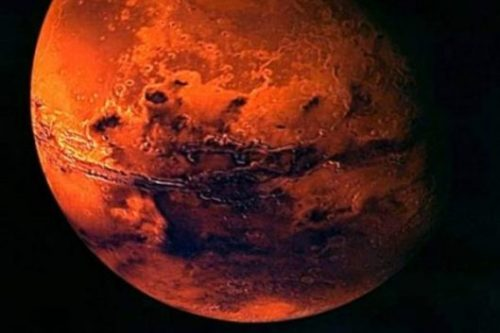 Image Of Planet Mars Highlighting The Circumferential Geological Rift/Crack.