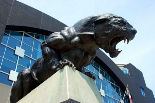 Image Of A Crouching Panther Statue.