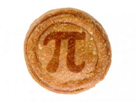 Image Of A Round Pastry Pie With Symbol For Pi Baked On.