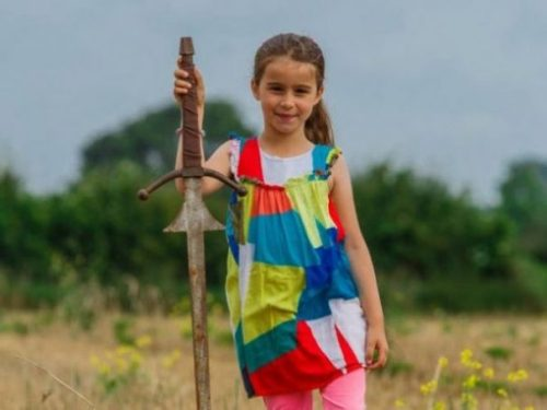 Image Showing A Young Lady Who Found A Sword In A Lake In Cornwall Like King Arthur.