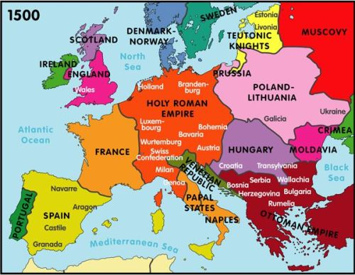 Image Of A Map Showing Europe As Medieval Time Nation-States.