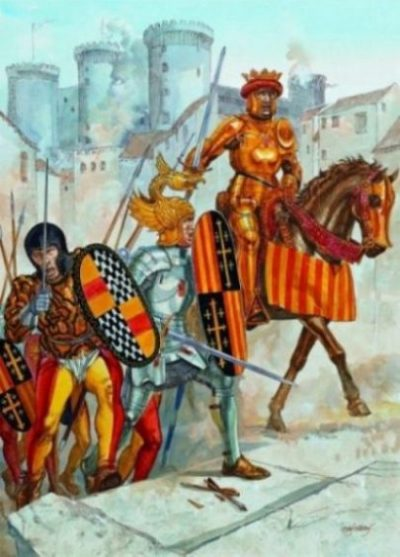 Image Of A Medieval Borgian Knight On Horseback Leading Other Soldiers.