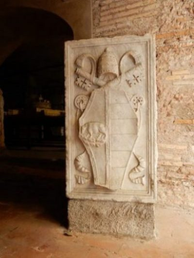 Image Of Stone Carving Of Borgia Family Coat Of Arms On A Wall.