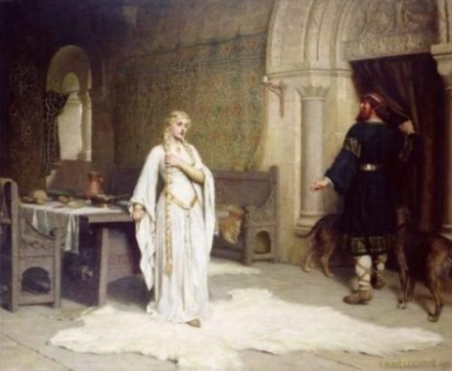 Image Of A Painting Of The Lady Godiva Tale At The Moment Of Her Decision To Ride.
